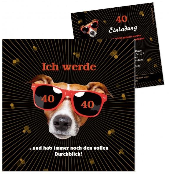 Lustige Einladungskarte Hund Geburtstag