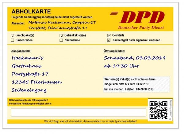 Geburtstagseinladung Dpd Abholkarte Originell