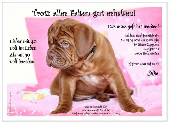 Einladungskarte Hund mit Falten