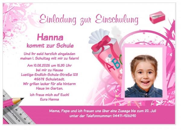 Einschulung Einladung Schulkind Mädchen mit Schultüte