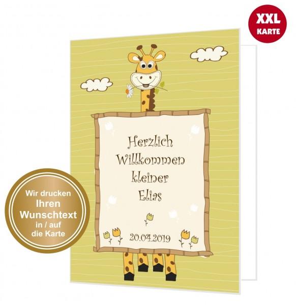 Glückwunschkarte Geburt Giraffe Willkommen