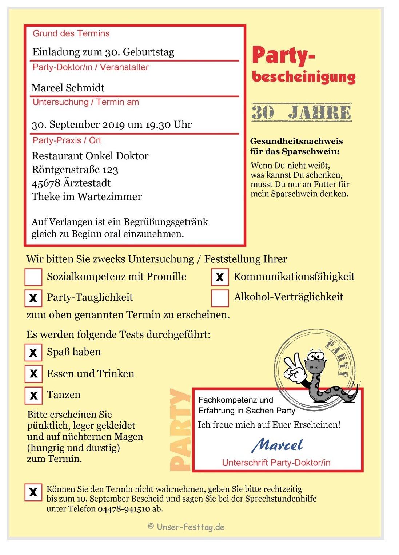 Krankschreibung Als Einladungskarte