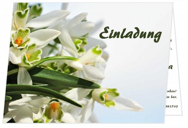Geburtstagseinladungen Klappkarten Weiße Blumen