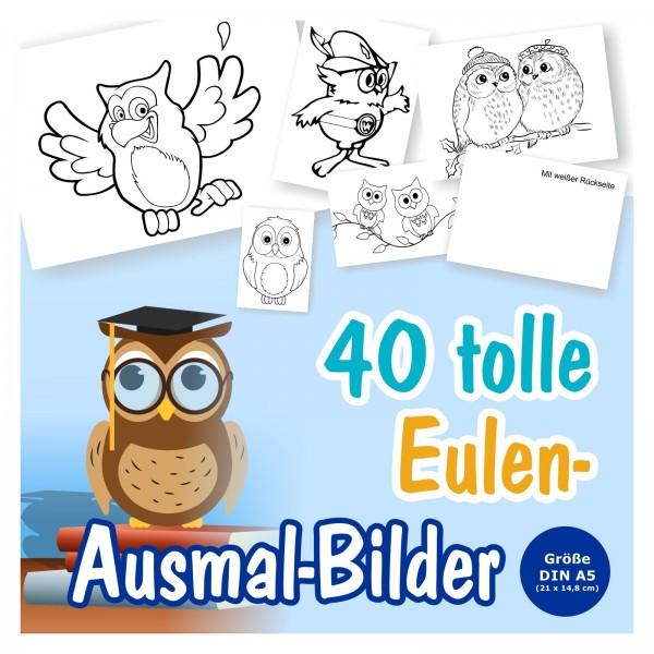 24 x Eulen A6 Postkarten zum Ausmalen
