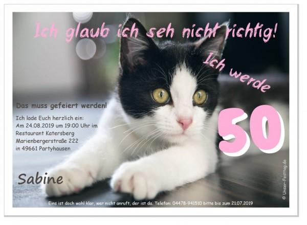 Einladungskarte Katze sieht nicht richtig