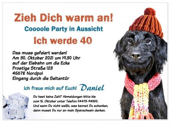 Lustiger Hund Mütze Schal Geburtstagseinladung