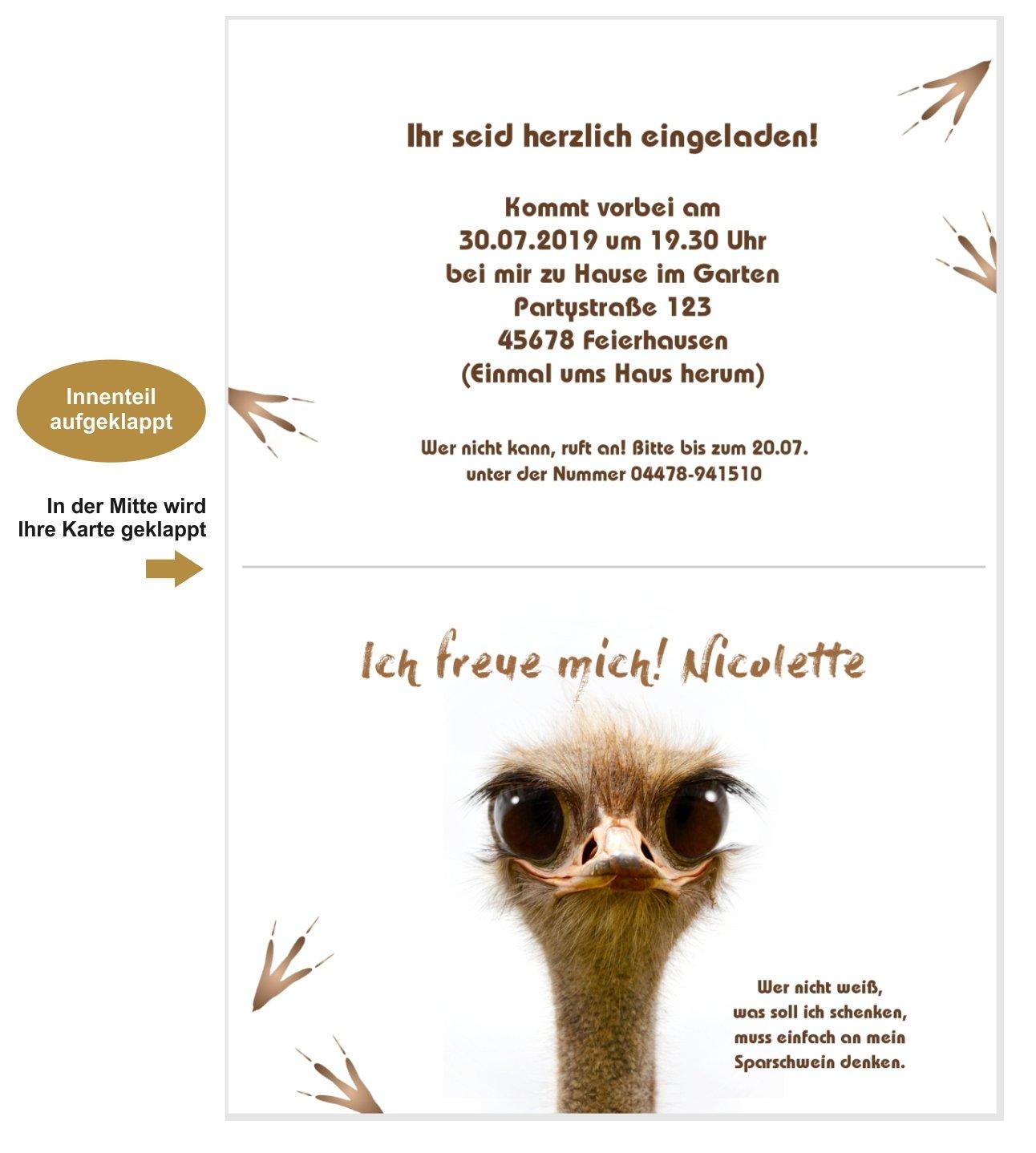 Einladungskarte Am Lutscher Lustig Vogel Geburtstag Mit Wunschtext