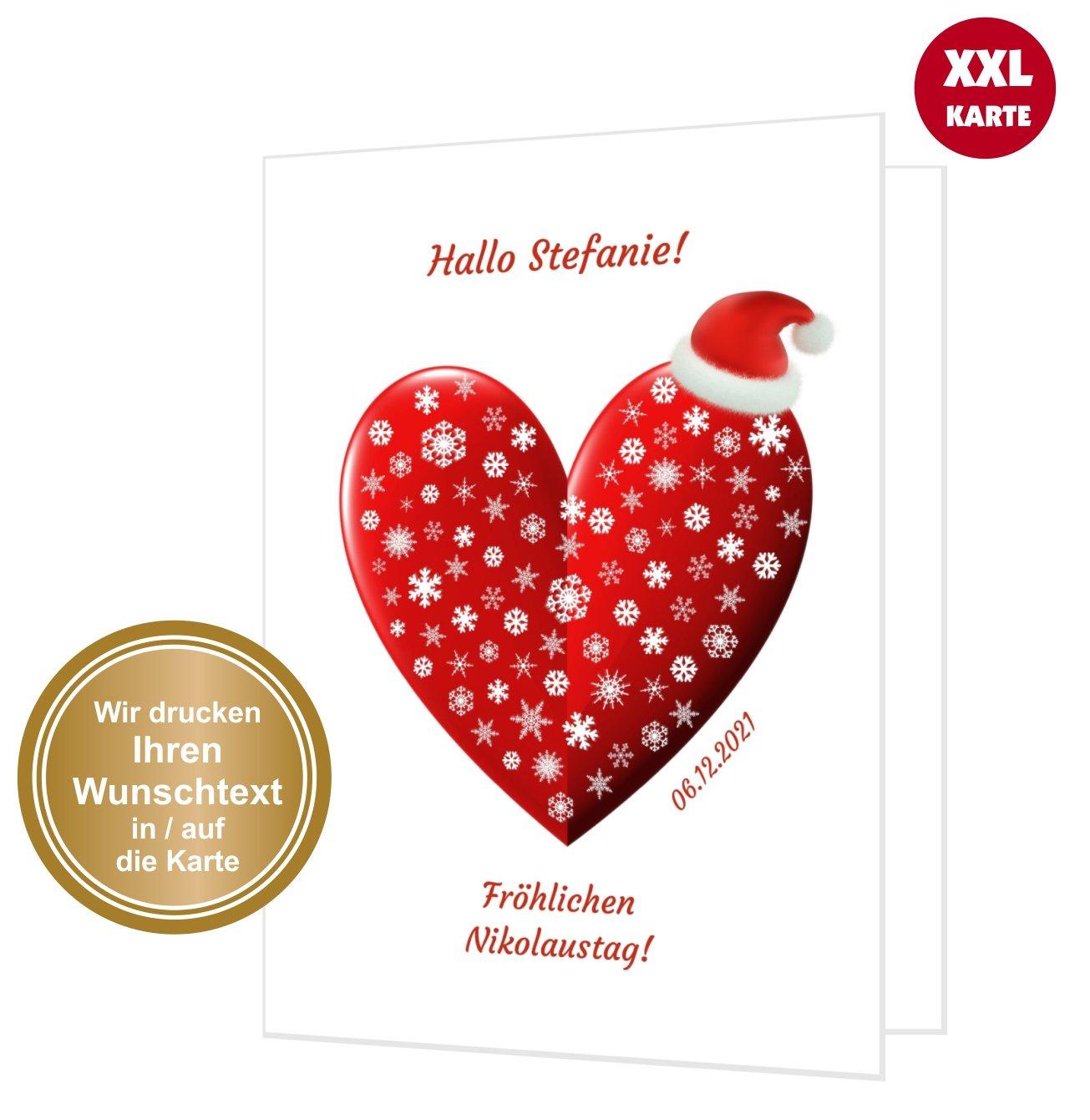 Gro e nikolauskarte oder weihnachtskarte weihnachtsherz unser festtag einladungskarten - Weihnachtskarte freundin ...
