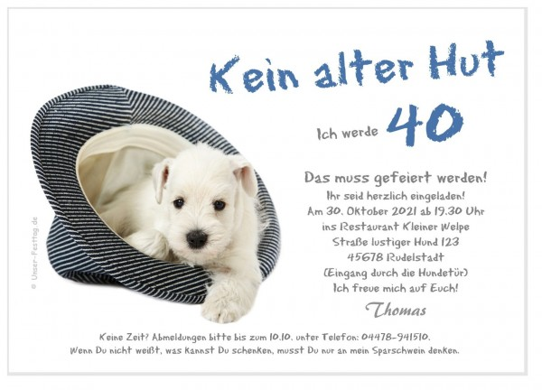 Lustige Geburtstagseinladung Hund Im Hut