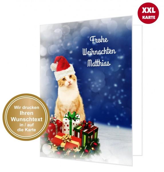Süße Weihnachtskarte Katze Mit Weihnachtsmütze