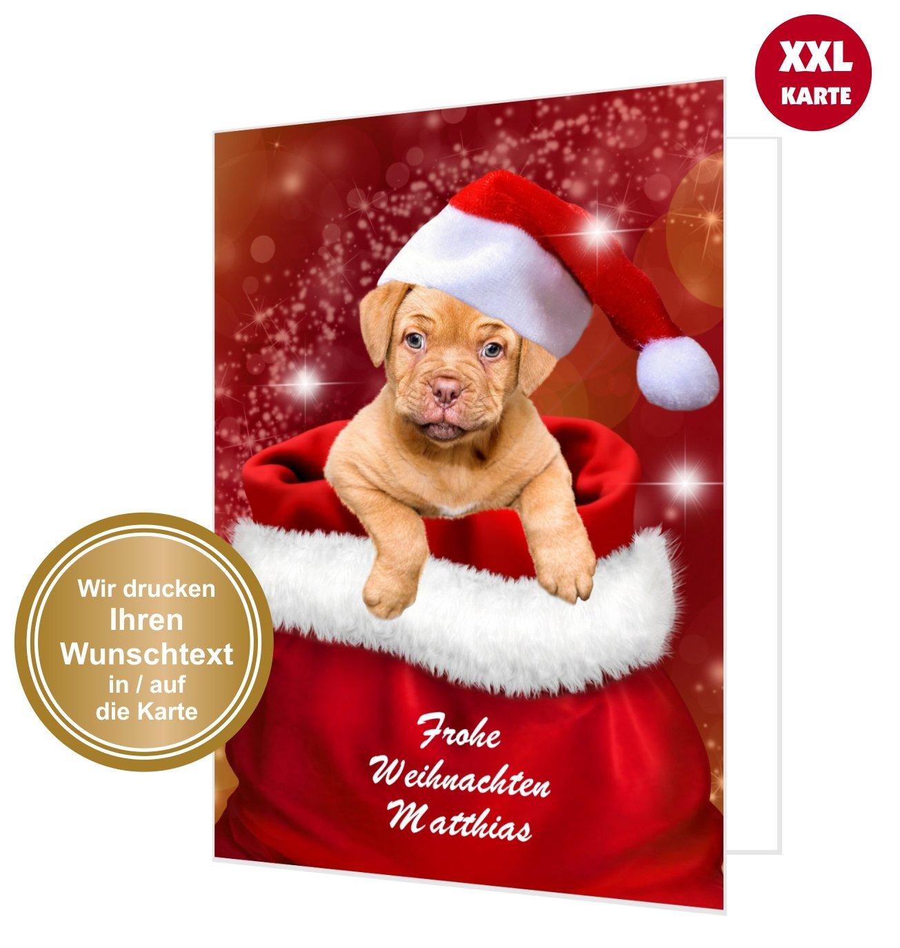 Maxi Weihnachtskarte: Hund im Weihnachtsack   Unser Festtag ...