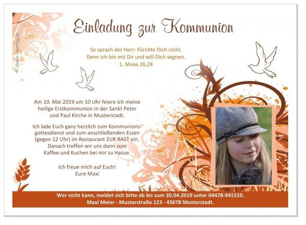 Kommunionseinladungen Mädchen Kringel Foto