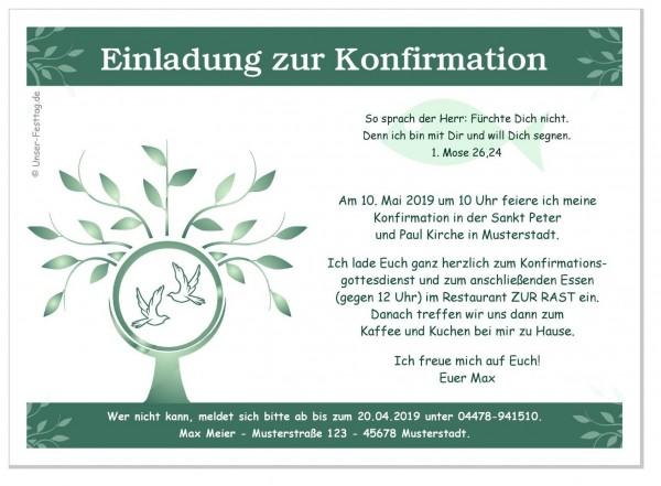 Einladungskarten Konfirmation Baum Edel