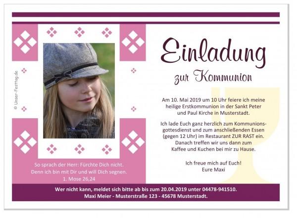 Einladungskarten Heilige Kommunion Mädchen