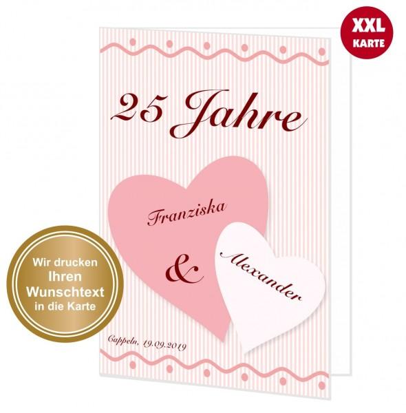Große Glückwunschkarte Romantische Herzen