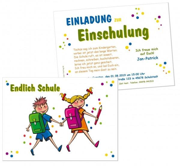 Einladungskarte Einschulung Witzig Schulkinder
