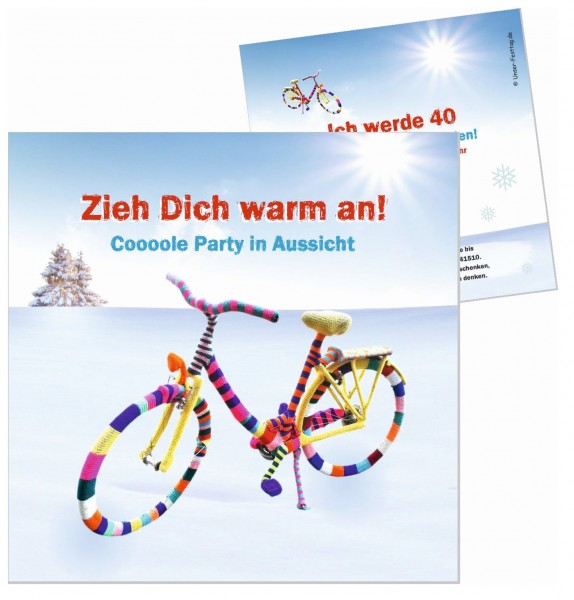 Witzige Geburtstagseinladung Gestricktes Fahrrad