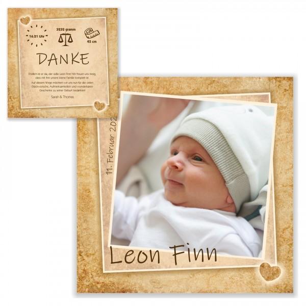 Geburtskarte Dankeskarten Sweet Vintage Maedchen Junge