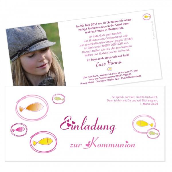 Ausgefallene Einladungskarten Kommunion Fische Bunt