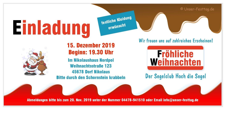 Einladung Weihnachtsfeier Verein.Einladungskarte Schoko Mit Nikolaus