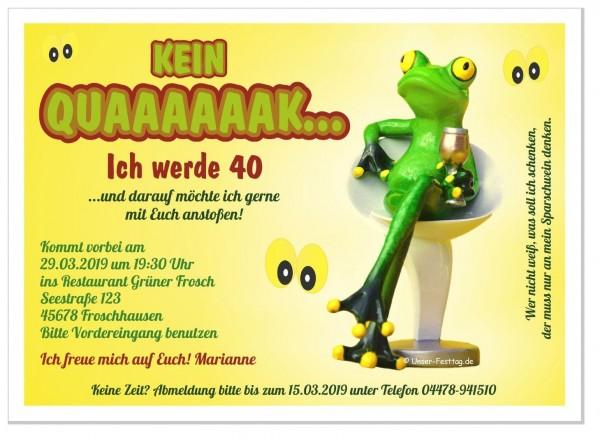 Einladungskarte Geburtstagsfeier Frosch Lustig