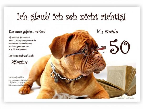 lustige Geburtstagseinladungen Hund mit Brille