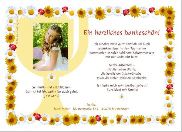 Dankeskarten Für Kommunion Blumenmeer